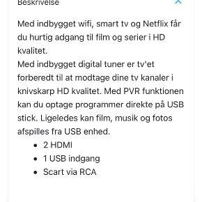"""32"""" smart TV fra Prosonic sælges. Købt sidste år i Bilka i oktober måned. Fejler intet, sælges grundet flytning"""