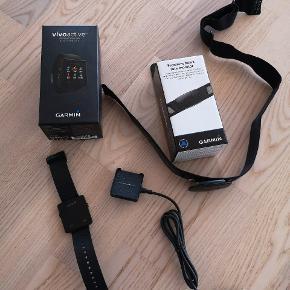 Garmin Vivoactive GPS smartwatch samt Garmin pulsbælte sælges. Fungerer som det skal. Sælges kun fordi jeg har købt et nyt