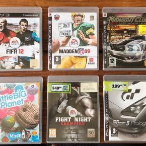 Diverse spil til PS3 1 spil 50,-  3 spil 100,-