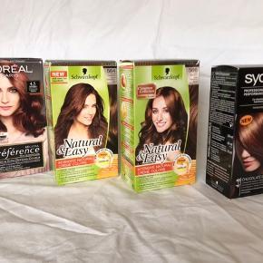 GRATIS! Diverse hårfarvningsprodukter (alle brun) fra Syoss, Loreal & Schwarzkopf.  Aldrig brugt, kan sendes for betalt porto alene.