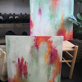 2 stk malerier i str 50x50sælfes til 300kr stk pp.