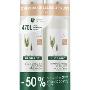 Klorane Dry Shampoo Tinted  Klorane tørshampoo til mørkt hår. Pakken indeholder 2 x 150 ml.   *** SÆLGES TIL 125 KR PP ***  Kan sendes eller hentes hos mig på Frederiksberg.   BYTTER IKKE!