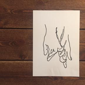 Håndtegnet plakat printet på snehvid karton.  Mål: 21x30 - 49 kr. Mål: 30x42 - 99 kr.