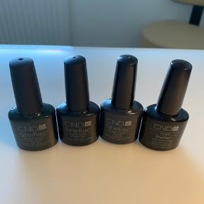 8 flotte Cnd Shellack farver  Der er ca 75% tilbage i flaskerne  Sælges samlet til super pris 800kr