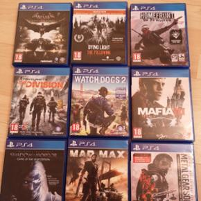 PS4 spil:  Watch dogs 2 - 100 kr - solgt;  Mafia III - 75 kr;  Shadow of Mordor - 100 kr - solgt;  Madmax  - 75 kr - solgt;  Metal gear solid - 100 kr; - solgt The devision - 100 kr - solgt;  Batman - 100 kr; - solgt Dying light - 125 kr; -solgt Homefront - 50 kr - solgt