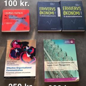 Bøger som er blevet brugt til logistikøkonom uddannelsen:   - Metode og Projekt 2. Udgave. ISBN 978-87-593-1499-9 (100 kr.)   - Erhvervs økonomi + opgavebog 4. Udgave. ISBN 978-87-412-6165-2 (200 kr.)  - Effective Organisational Communication ISBN 978-0-273-77486-0 (250 kr.)  - Introduction to Operations and Supply Chain Management (med overstregninger). ISBN 978-1-292-09342-0 (200 kr.)  Bøgerne kan afhentes i Køge eller sendes foe købers regning