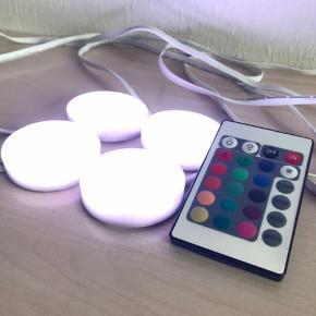 LED Lys til indendørs med fjernbetjening til at betjene lys med mange forskellige farver 4 LED Lys 1 Fjernbetjening Odense