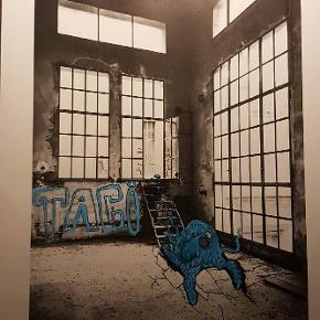 Fedt værk af UnderTaci måler 50×70cm og er malet oven på photografi smid gerne et fornuftigt bud hvis du har interesse er til at handle med