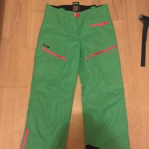 Ski bukser i grøn, med pink lynlåse - str 158/164, svarer til en small  - Fra True North   Kom bare med et bud😁