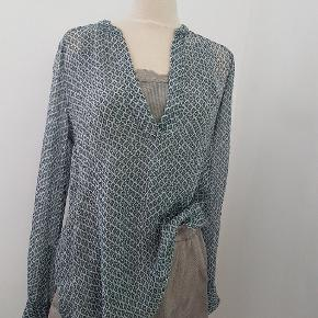 Ovesized. I silke eller viscose. Med knapper nederst i ærmerne, som en klassisk skjorte og en enkel lille trykknap ca midt i v - halsåbningen foran.