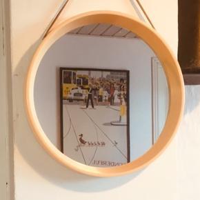 Smukt rundt retro spejl, diameter 29 cm.