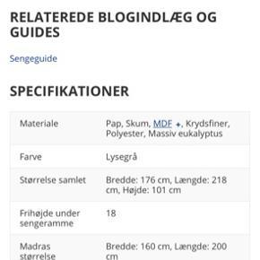 """Sengeramme """"MILLINGE"""" fra JYSK. Købt i juni 2018. Kvittering haves. Står som ny - sælges udelukkende pga. flytning til mindre lejlighed. Kom med et bud!"""