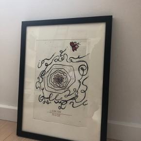 """Hjemmelavet """"plakat""""/ billede  lavet med akvarel og blyant  130kr.  Rammen følger ikke med. Det hele kan kæbes for 240kr. Byd gerne"""