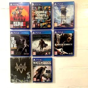 Red Dead Redemption II, Grand Theft Auto 5, Mortal Kombat, The Last Of Us, Star Wars Battlefront, Shadow Of Mordor, Watch Dogs 1 & 2 Byd og vi ser på det! :-)