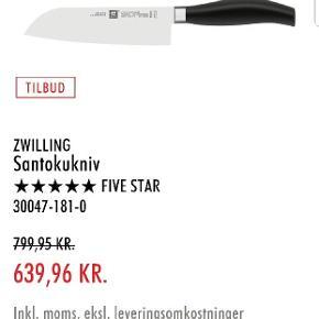 Zwilling 5 star Santoku kniv.  Brugt meget få gange, og sælges fordi jeg jeg har andre knive jeg bruger. Nypris 799