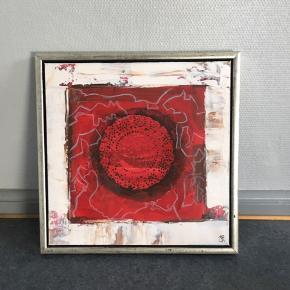 Flot billede i røde nuancer.  Mål: 44x44 cm