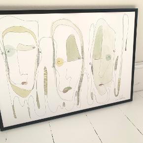 Abstrakt minimalistisk one line kunst malet med pen og akvarel på kvalitetspapir 👩🎨🎨  Størrelse: A3 (29,7x40 cm) 📏  Vær opmærksom på at ramme ikke medfølger  #Trendsalesfund #kunsttilvæggen #kunst #maleri #kunsttilhjemmet #minimalistiskkunst #billederpåvæggen #vægbilleder