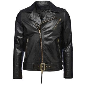 HELLISH  leather jacket Buffalo leather , very durable and thick with padded lining .  Men's biker jacket in heavier leather quality with gold metal details. Features zip fastening at front and sleeve. Belt with metal buckle. Fully lined. Regular fit. Hip length. Fits true to size, take your normal size
