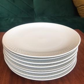 8 fine middags tallerkener.  En enkelt tallerken har et lille skår.  Ø: 24,5 cm  Sælges samlet
