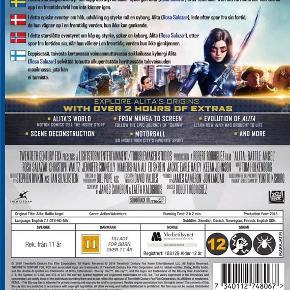 0464  Alita: Battle Angel - Blu-Ray  Dansk Tekst - I FOLIE   Fra producerne bag Avatar (2009) kan du nu se Alita: Battle Angel. Nyd dette helt nye science fiction eventyr!  En deaktiveret hun-cyborg bliver genoplivet, men hun kan ikke huske noget fra sit tidligere liv. Hun  lærer at navigere i sit nye liv og Iron City's forræderiske gader og drager snart ud på en færd for at finde ud af, hvem hun egentlig er.