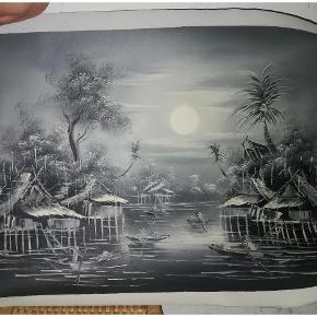 Maleri fra Thailand på lærredsstof. Måler cirka 50 x 70 cm