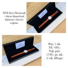 NYE Iver Denmark - thyra dannebod dameur i farven cognac   Pris: 1 stk. NU 449,- Vejl. pris: 1749,- pr. stk. (1 stk. tilbage)   Se også over 200 andre nye produkter, som jeg har til salg herinde :-)