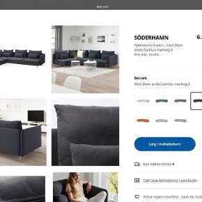 Super flot Söderhamn sofa fra 6.7.2020 den er stadig i de kasser de kom i, og er helt ubrugt. Grunden til vi sælger den er at den er for stor til vores lejlighed, og vi ønsker en mindre desværre...   Den koster fra ny af 6.599 og vi har til købt to armlæn så den kom op på 6.900 ca.   Da den er helt ny og stadig er i kasser den kom i, og ikke er samlet så tænker jeg prisen ca er på 6.350 eller BYD gerne  Sofaen er mørkegrå