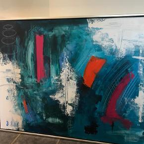 Virkelige flotte malerier. 3 stk. 1 stk.Maleri i blålige farver.mål:124x94 2 stk. Malerier i blålige farver: mål;44,5x44,5  sendes ikke. afhentes. sælges samlet for 700 kr