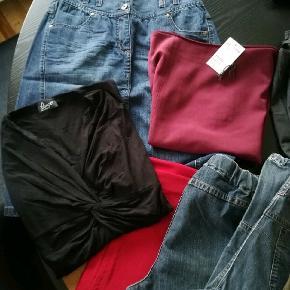 Blandet tøj sælges. Bukser, nederdele, stumpebukser, blus. Flere dele aldrig brugt. Sælges samlet, 17 dele 250,00 KR.
