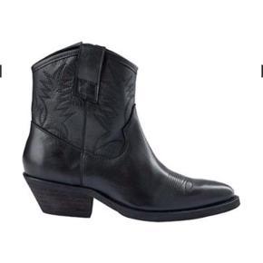 Spritnye cowboy-støvler - str 36 sort.,  incl porto