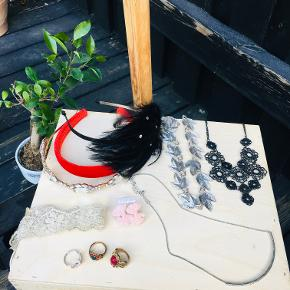 Party jewelry - various items to make you stand out in the crowd :)   *3 tiaras - black feathers, red & glamourous *1 lace hair accessory *1 pair of pink lace earrings *3 ethno rings  *1 thin necklace *2 necklaces in floral motives - silver & black