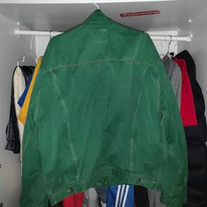 Vintage Diesel Jacket -Smooth Green Denim, Leather Collar.  -Size L