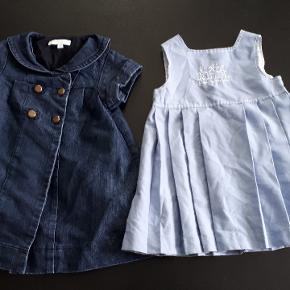 2 kjoler str 18 mdr. Min datter har brugt dem fra 1-2 år. Cowboy kjole 100 kr, lyseblå kjole 25 kr. Samlet 100 kr. Porto 38kr