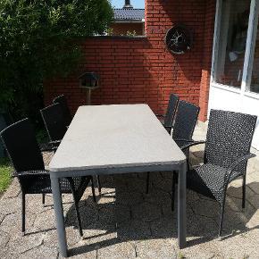 Jutlandia vedligeholdelsesfrit havebord (sten plade) samt 6 stole
