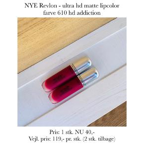 NYE Revlon - ultra hd matte lipcolor farve 610 hd addiction   Pris: 1 stk. NU 40,- Vejl. pris: 119,- pr. stk. (2 stk. tilbage)   Se også over 200 andre nye produkter, som jeg har til salg herinde :-)