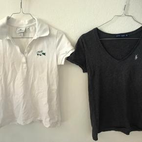 Lacoste bluse. Brugt meget få gange. Er en str 36.  Ralph Lauren t-shirt i grå. Er en xs men passer også sagtens en small