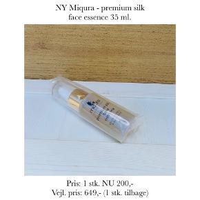 NY Miqura - premium silk face essence 35 ml.   Pris: 1 stk. NU 200,-  Vejl. pris: 649,- (1 stk. tilbage)   Se også over 200 andre nye produkter, som jeg har til salg herinde :-)