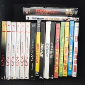Forskellige dvd'er sælges samlet  - Prison break  - Klovn sæson 1-6  - Langt fra las Vegas sæson 0-4  - Anders Matthesen: Anders, tal for dig selv, anden på coke, terkel i knibe  - Drengen fra Angora