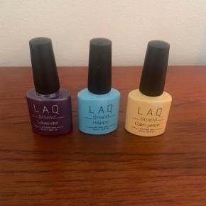 3 shellakfarver fra laq - brugt 1-2 gange. Sælges samlet til 120kr, enkeltvis sælges de til 45 kr.