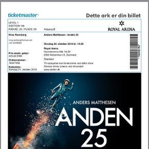 To billetter til Anders Matthesens jubilæumsshow - forpremiere! Onsdag d. 24/10 i Royal arena.  2 stk. sælges!