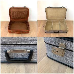 2 x Old School kufferter fine og gamle sælges.  MÅL GRÅ: Længde - 60 cm Bredde - 39,5 cm  Dybde - 17 cm  MÅL BRUN: Længde - 55 cm Bredde - 40 cm  Dybde - 14 cm  Pr. Stk. 200  Kan afhentes i Holbæk