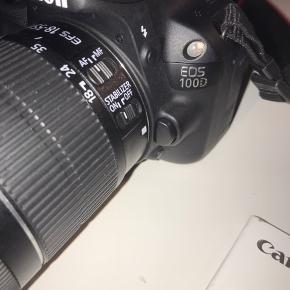 CANON EOS 100D   CANON 18-55mm linse  CANON 40mm linse  Lowepro ILC Kamerataske   HAMA kamerastativ    Brugt meget få gange og fejler intet 😁 sælges fordi jeg ikke får det brugt  - Skriv for mere information