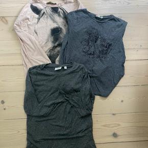 3 fine t shirts med lange ærmer i meget fin stand Rosa fra FITN 2xl Grå fra AO76 str 10 Grå fra Hartford str 10