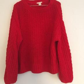 Rød strikstrøje fra h&m Str. M - passer også som oversized s Byd