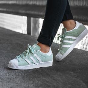 Adidas superstar sko i str. 40. Farven er grøn/blå eller nærmere mintfarvet. Nypris var 750 kr. Vil mindst have 300 pp for dem, idet de aldrig er blevet brugt :)