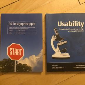 """""""20 Designprincipper"""" af Ian Wisler-Poulsen og """"Usability"""" af Ole Gregersen og Ian Wisler-Poulsen. God til multimediedesign og digital grafisk design. Ingen markeringer eller lign. Prisen er for begge bøger samlet.  FLYTTESALG, skal væk hurtigt! Se også mine andre annoncer 🤗"""