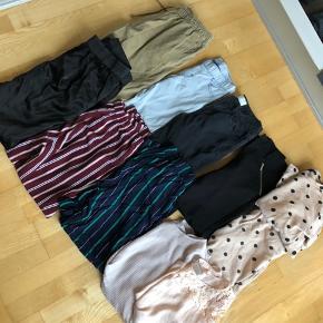 TØJPAKKE HENSTES SENDEST I EFTERÅRSFERIEN!  For kun 250kr, så kan det ikke gøres billigere!! Hentes hurtigst muligt, pga flytning!  Sælges kun samlet!  7 par bukser 1 sæt  12 t-shirts  6 bluser  2 nederdele  2 shorts buksedragte 3 par shorts  Et par cykelshorts  Mærker only, Vero Moda, gina Tricot, h&m, Boohoo, Moss Copenhagen, pieces, kaffe.