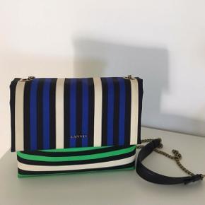 Lanvin Mini Sugar Bag med guldkæde - taske - skuldertaske i sort, creme, blå og grøn.  Nypris: 9000,-