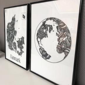 Verdens cirkle og Danmarks plakat i A3 størrelse, i Sorte rammer fra CeKi Designs.  Kan også sælges hver for sig hvis det ønskes   CeKi designs er et tidligere plakat firma, designet og printet af migselv og en veninde men nu sælger vi de sidste billeder inden vi drager til nye projekter ☺️ det er altså dansk design, lavet med kærlighed af to studerende ❤️  Dette er en del af et restparti, der er derfor mulighed for at købe flere og få en billigere pris.   Billederne kan afhentes i Slagelse eller København.