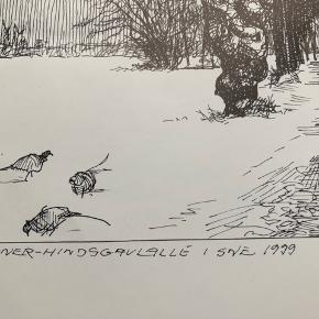 """Tegning/grafik af Erik Holbech Mortensen """"Fasaner Hindsgavlalle i sne 1999""""  Størrelse: 30x40 cm.   Enkelte håndteringsspor.   Sender gerne 👀"""